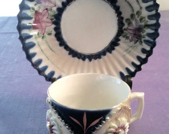 Demitasse cup and saucer vintage Ilmenau, gold accents