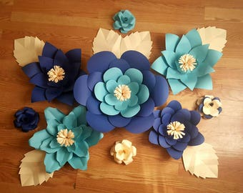 Large Paper Flowers, set of 9 flowers beautiful home decor ,event decor,  Customize your size style and colors