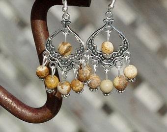 Picture Jasper Stone Chandelier Earrings ~ Brown Stones ~ Boho Earrings ~ Bohemian Jewelry ~ Semi Precious Stones ~ Tibetan Silver