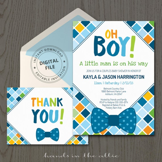 Bow Tie Baby Shower Invitations Themed Baby Boy Invitation - Baby shower invitation templates for boy