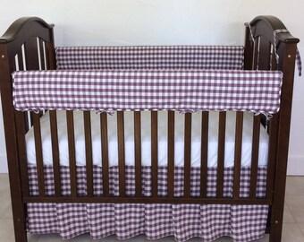 Plum Plaid Baby Crib Bedding