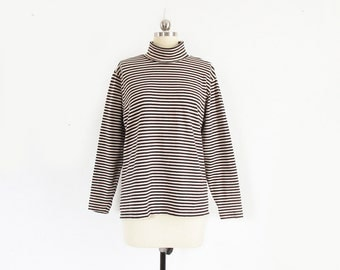 vintage striped turtleneck, long sleeve black & cream cotton shirt, 90s ll bean - womens m