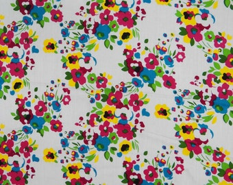"Home Decor Fabric, Floral Print, Dress Fabric, Indian Decor, Rayon Fabric, Quilting Fabric, 44"" Inch Fabric By The Yard ZBR136"