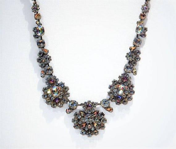 Designer SORRELLI Rhinestone Necklace VITRAIL Swarovski Austria Crystal Couture Vintage Runway Fashion Jewelry Multi Color Watermelon