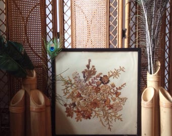 Vintage fire screen, rare and unusual beautiful fire guard, with dried flowers behind glass and wooden frame, bohemian home decor