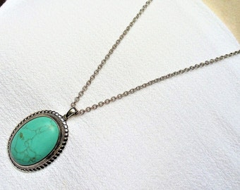 Vintage Turquoise Tribal Necklace, Turquoise Silver Tone Metal Large Pendant Necklace, Southwestern Style Gemstone Cabochon Blue Necklace