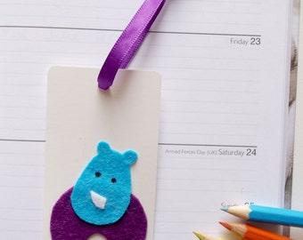 Kids Bookmark, Teachers gift, Rhino Child's Bookmark, Handmade Felt Bookmark, Small Bookmark, Fun Book Page Marker, Jungle Animal, Book Love