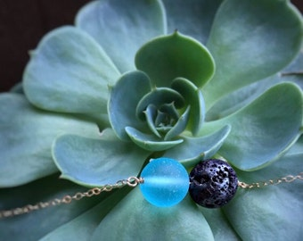 14k gold filled sterling silver round black lava rock blue sea glass bead necklace / bridesmaid / minimalist dainty / essential oil diffuser