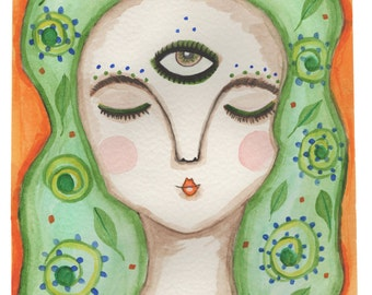 Art Print , 'Ezmerelda', Third Eye, Surreal Art, Pop Surrealism, Girl, Nature Based Art