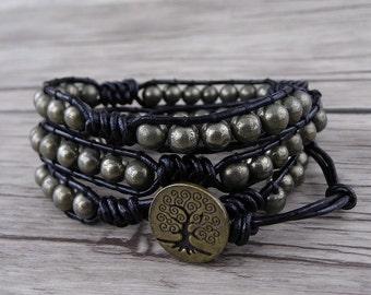 Boho Bracelet Pyrite beads Bracelet 3 Rows Bracelet Mens Beaded Bracelet Pyrite Bracelet Leather Waps Bracelet Waps Pyrite Bracelet SL-0521