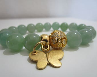 Green aventurine, green Aventurine bracelet, butterfly pendant, gold plating, gift for women, bracelet natural stones, bracelets