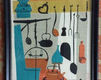 Robert Darr Wert Hand Printed Linen, Framed Folk Art, Vintage Linen, Kitchen Decor