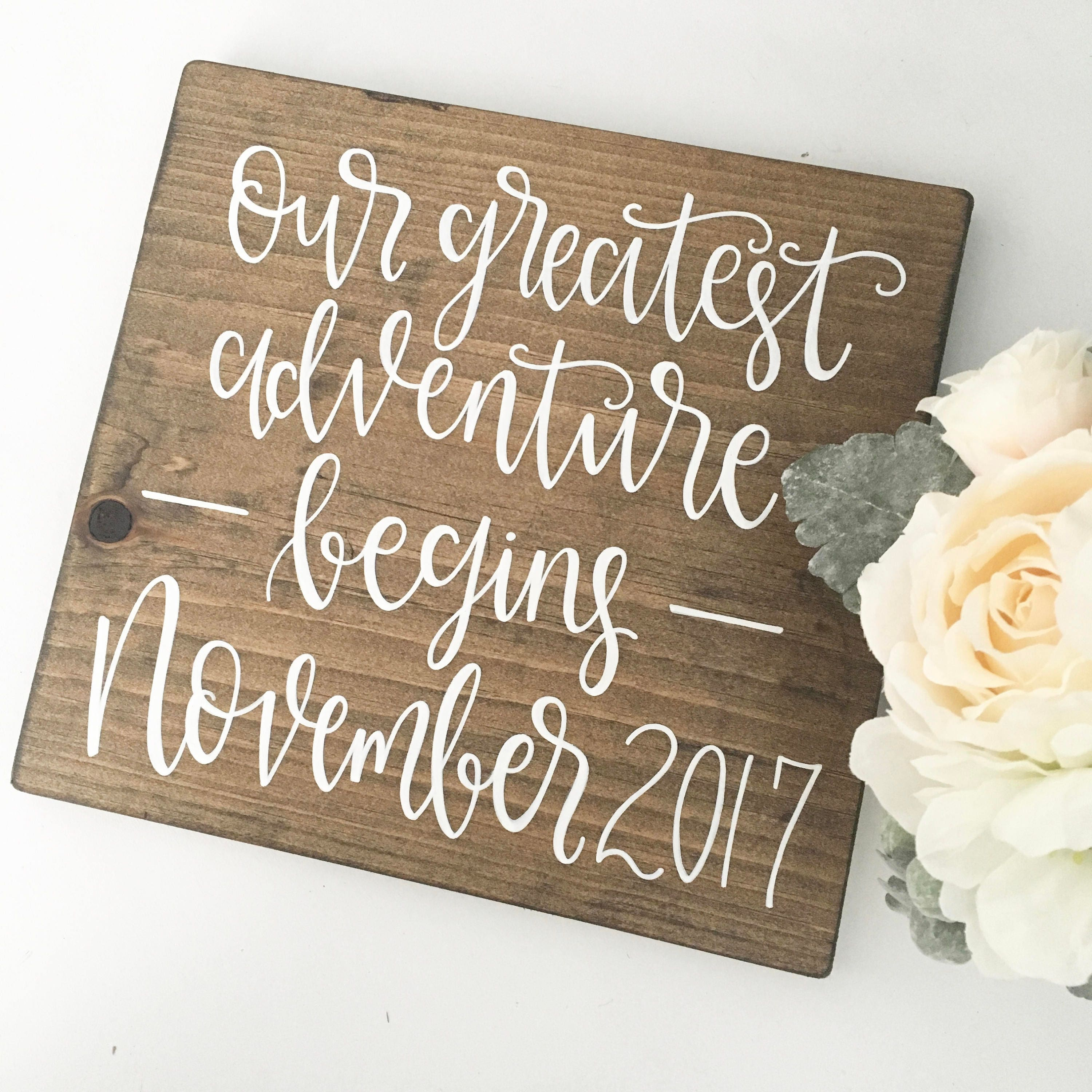 our greatest adventure begins wood sign - Etsy Baby Room