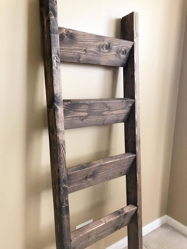 blanket ladder rustic ladder shelf wood blanket ladder. Black Bedroom Furniture Sets. Home Design Ideas