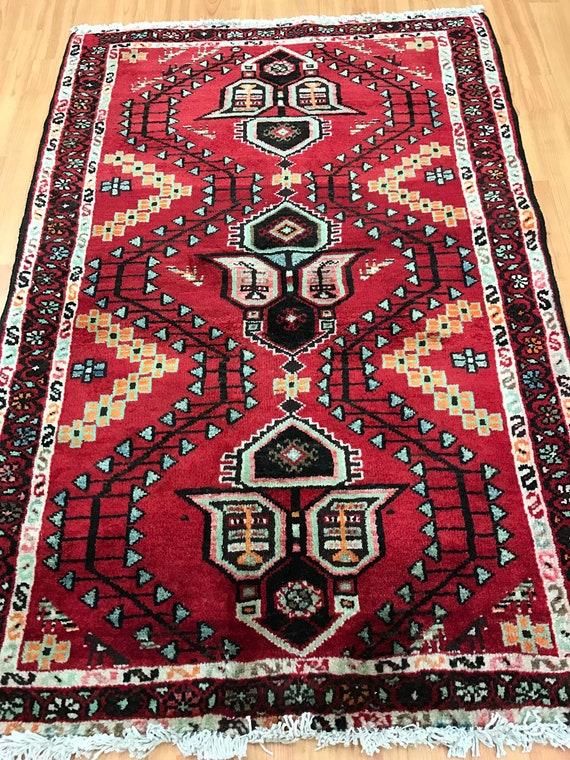 "2'9"" x 4'1"" Persian Hamadan Oriental Rug - 1950s - Hand Made - 100% Wool"