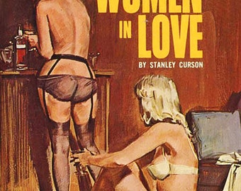 Lesbian pulp vintage art print—Two Women in Love