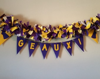 LSU Tigers College Banner, Louisiana State University Football decoration, tailgate party decoration, LSU Dorm Decoration, Purple, Gold