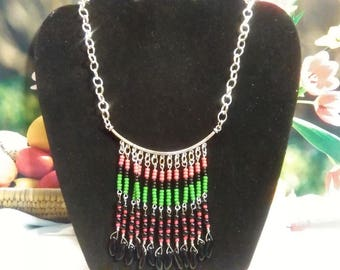 Pan-African Beaded Fringe Necklace