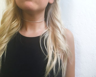 Clear beaded wire choker necklace
