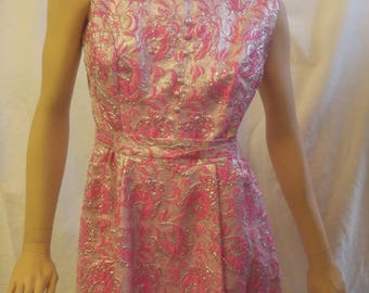 Vintage pink and silver glamour 1960's mod dress - super cute!!