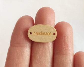 10 Handmade wooden buttons / Embossed wooden button / sew on tags / natural wood button / handmade logo / 12 x 19 mm / BU30