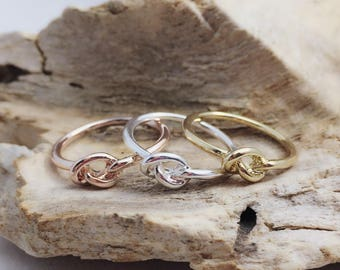 Love Knot Ring / Gold, Rose Gold or Silver Knot Ring / Tie The Knot Ring / Size 6 / Bridesmaids Gift / FI1