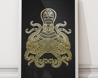 Squid Hand Illustrated Foiled Unframed Print