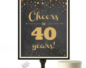 40th birthday printable 1977 poster Cheers to 40 years 40