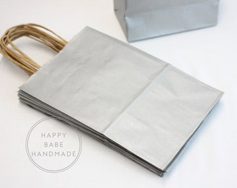 10 Gift Bags, Silver Gift Bag, Silver Favor Bag, Wedding Favor Bag, Silver Bags, Recycled Bags, Paper Gift Bags, Party Favor, Welcome Bag