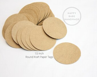 "Kraft Tags, 1.5"", 100 Paper Tags, Gift Tag, 65lb Card Stock, Jewelry Tag, Price Tag, Favor Tag, Circle Confetti, Kraft Paper Tags, Bulk Tag"