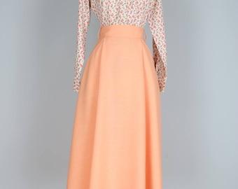 "1970s Skirt - Pastel Peach Midi Full Flare Circle Skirt - Vintage Dancing Skirt - Pockets - Spring Summer - Size XS Small Waist 26"""