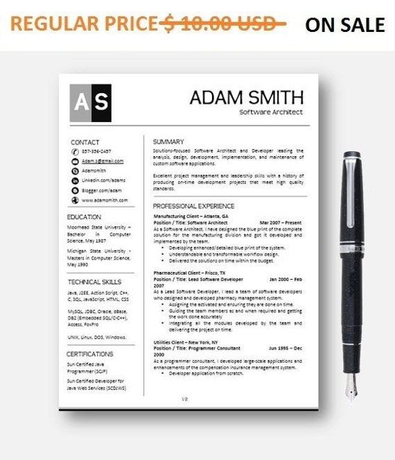 80% OFF SALE Teacher Resume Template | AddOn, CoverLetter + Reference Letter for MS Word | Professioanl and Creative Resume Design