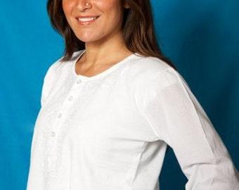 White Kurti Tunic with Design Full Sleeve - Women