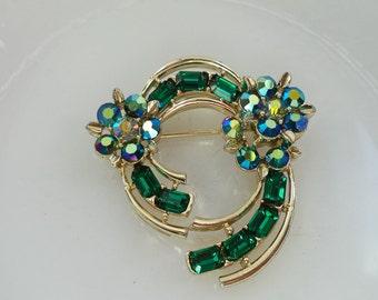 Lisner Signed Brooch Emerald Green Baguettes Aurora Borealis Blue Crystals