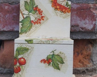 Decoupage salt cellar  box Wooden salt box with rowan and rosehip Rustic style Box with lift up lid Kitchen box Kitchen accesory Unique