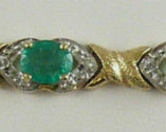 "Emerald Bracelet 5.92ct with Diamonds 0.05ct 14k Yellow Gold 7"""