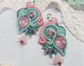 Soutache Dangle Earrings - Soutache Earrings - Soutache Earrings with Crystals - Handmade Earrings