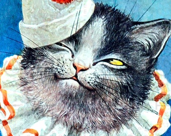 Lovely Cat Antique illustration. Clown Cat. Victorian Humanized Cat. Digital Kitty Download. Vintage Cat Print.