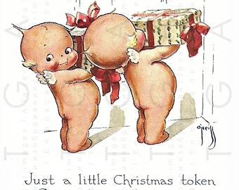 KEWPIES Vintage CHRISTMAS Card. 1920's Printable Kewpie Greeting Card. Digital Christmas Download. Rose O'Neill's Kewpies.