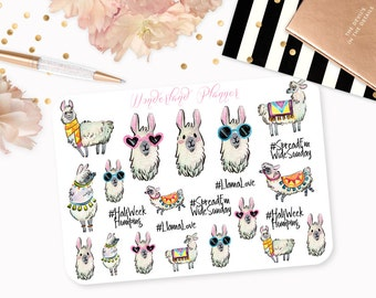 Llama Love - Watercolour Planner Stickers // Perfect for Erin Condren Vertical Life Planner