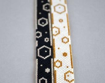 Flat bracelets Bubbles, silver, gold, black, white