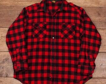 "Mens Vintage Woolrich CPO Lumberjack Plaid Wool Over Shirt XL 48"" R4857"