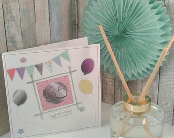 65th BIRTHDAY CARD/ Greetings Card/ Milestone Birthdays/ SIXTY Five/ Bunting/ Balloons/ Flowers / personalised