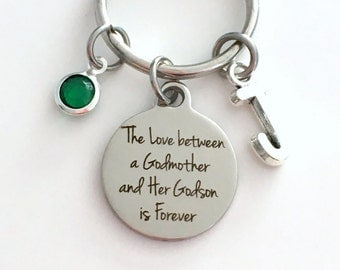The Love between a Godmother and a Godson is Forever Keychain, Godmom Gift Key Chain from Nephew Birthstone Initial Birthday Present Jewelry