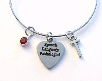 Speech Language Pathologist Bracelet, Gift for Therapist Silver Charm Bangle SLP Graduation Therapy Jewelry letter birthstone initial women