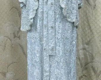 Beautiful Light Blue Beaded Evening Gown With Jacket and Sash, Size XL