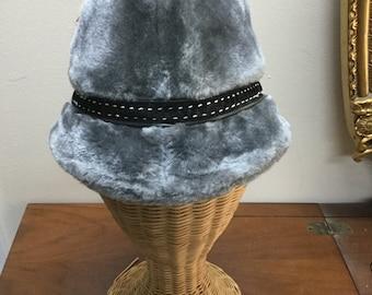 Vintage Mens Grey Faux Fur Fedora, Fur hat, Mens Fur Hat