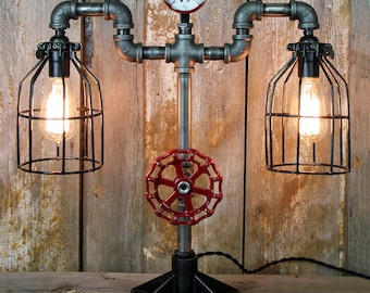 Steampunk Table Lamp with Dual Edison Lights - Steampunk Desk Lamp