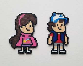 Gravity Falls Mabel and Dipper Mini Perler Bead Magnets or Keychains