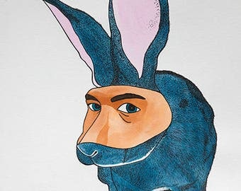 Rabbit with human mask.